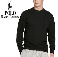 NWT $49.5 S M L XL Heather/Black Polo Ralph Lauren Crew Thermal Top Waffle Knit