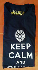 Authentic Navy Blue Police Keep Calm and Chive On Tee - KCCO - Size Large