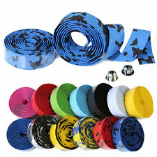 Cork Handlebar Tape Wrap Road Bike Bicycle Racer Cycling Bar Ribbon 2 End Plugs