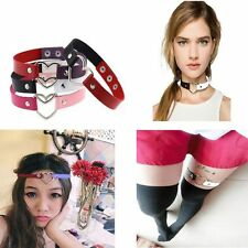 Harajuku Goth Punk Funky Ring Heart Necklace Leather Collar Choker