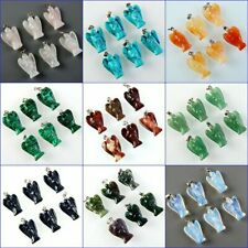 Cahmring 6Pcs Carved Angel Natural Mixed Gemstone Pendant Bead 24x15x7mm W-XTS