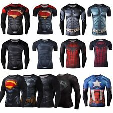 Mens T-shirt Superhero Marvel Compression Short Long Sleeve Sport Bicycle Jersey