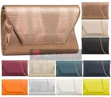 LADIES 3D ENVELOPE SNAKESKIN FAUX LEATHER CHAIN STRAP EVENING PARTY CLUTCH BAG