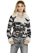 NWT GUESS Anabel Faux Fur Suede Jacket off white Multi color S 4 5