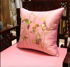 NEW Chinese embroidery Butterfly Pillow case Cushion cover Gold Satin FREE GIFT