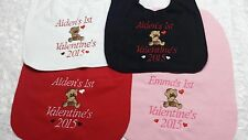 New Valentine's Baby Bib Boys Girls Custom Year and Name of CHOICE 4 colors Soft