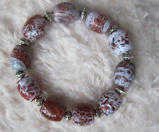 Natural Crab Red Fire Agate Bead Bracelets - Unisex.