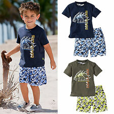2 Pcs Outfit Little Boys Kids Dinosaur Printed T-shirt Top+ Loose Short Pant Set