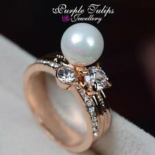 Design Pearl Ring Made With Swarovski Elements Crystals,18CT Rose Gold Plated