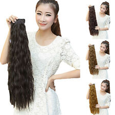 Fashion Women Long Wavy Curly Ponytail Clip-in Horsetail Hair Extension Wigs