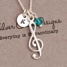 925 Sterling Silver Personalised Music Note Pendant Necklace +Birthstone+Initial