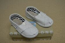 New Toms Tiny Classics Girls Gold Metallic Burlap Toddler Shoes