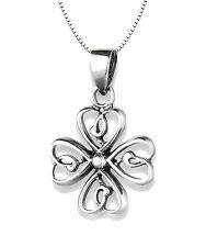 Solid 925 Sterling Silver Hearts Clover Cross Pendant Charm Necklace Gift Box