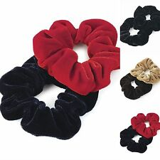 Two piece  velvet look elasticated hair scrunchie set. Various Colours