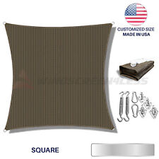 Custom Brown Square Sun Shade Sail Canopy Awning  Patio Pool Cover UV W/6 in Kit