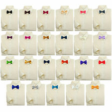 Baby Kids Boy Formal Party Tuxedo Suit Ivory Button Shirt Color Bow tie 0-7