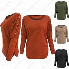 NEW LADIES MARL KNIT JUMPER STUD SHOULDER BATWING WOMENS KNITTED RUCHED LONG TOP