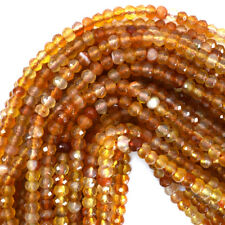"""Faceted Carnelian Rondelle Beads Gemstone 15"""" Strand 6mm 8mm 10mm"""