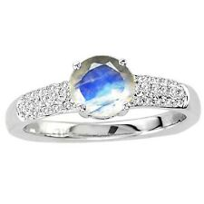 925 Sterling Pure Solid Silver Ring 6mm Natural Rainbow Moonstone Gemstone Ring