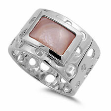 13mm 925 Sterling Silver Pink Freshwater Cultured Mother of Pearl Ladies Ring