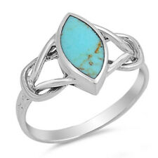 Women 12mm Sterling Silver Marquise Simulated Turquoise Celtic Knot Ring Band