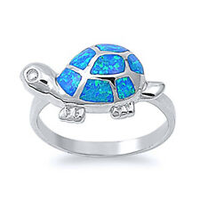 Women 11mm 925 Sterling Silver Simulated Blue Opal Turtle Ladies Ring Band