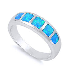 Women 6mm 925 Sterling Silver Simulated Blue Opal Band Ladies Ring Band