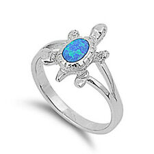 Women 15mm 925 Sterling Silver Simulated Blue Opal Turtle Ring Band