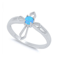 Women 15mm 925 Sterling Silver Simulated Blue Opal Cross Ladies Ring Band