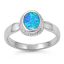 Women 10mm 925 Sterling Silver  Simulated Blue Opal Ladies Ring Band