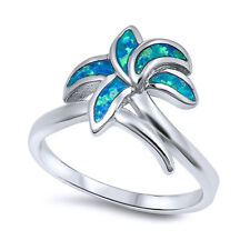 Women 13mm 925 Sterling Silver Simulated Blue Opal Palm Tree Ladies Ring Band