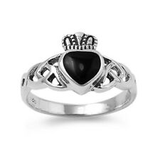Women 11mm Silver Heart Simulated Black Onyx Heart Celtic Claddagh Ring Band