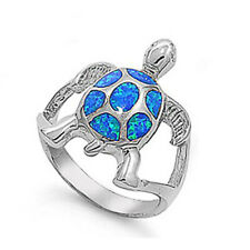 Women 21mm 925 Sterling Silver Simulated Blue Opal Turtle Ring Band