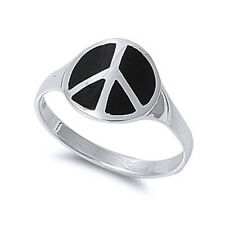 Men Women 13mm 925 Sterling Silver Simulated Black Onyx Peace Sign Ring Band