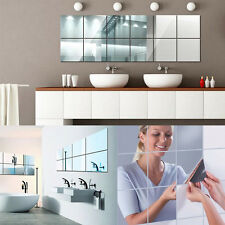 9/16pcs Square Mirror Surface Wall Stickers 3D Decal Mosaic Bathroom Home Decor