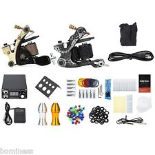 Solong Tattoo Kit Carbon Steel 12 Wrap Coils Machine Gun Power Supply 20 Needles