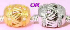 SOLID 925 Sterling Silver CZ Charm BEAD with Vemeil gold or Rhodium Finish