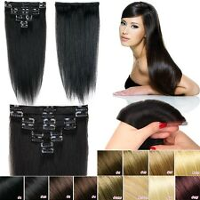 """100% Real True Clip In Remy Human Hair Extensions 22"""" Full Head US Seller MX498"""