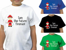 BOYS PERSONALISED RED FUTURE FIREMAN T-SHIRT CHILDRENS DESIGNER T SHIRT STYLE 1