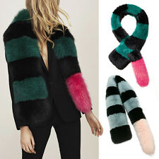 Real Whole Fox Fur Scarf Shawl Collar Strap Hit Color Wrap Stole Scarves Fashion