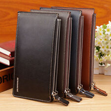 MEN FAUX LEATHER ZIPPER ID CREDIT CARD HOLDER BIFOLD LONG WALLET GIFT SALABILITY