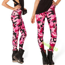 Womens Pink Camouflage Printed Leggings Stocking Skinny Pants Trousers Stretchy