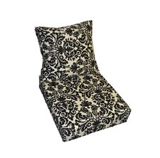 In / Outdoor Black & Cream / Ivory Damask Scroll Deep Seating Cushion 2 Pc Set