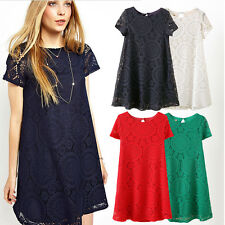 Women Mini Dress Bohemian Hollow Lace Short Sleeve Evening Party Cocktail Club
