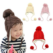 Infant Baby Girl Boy Hat Beanie Crochet Knitted Cotton Earflap Toddler Kid Cap