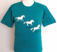 Childs Teal T Shirt With Trot Canter Jump Horse/Pony Printed Design