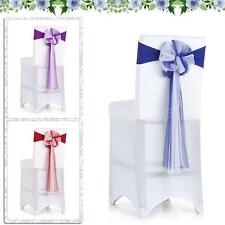 10PCS Spandex Wedding Party Banquet Chair Cover Band Sashes Bows Decoration G2O4