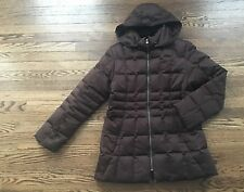SEARLE Sz 4 Brown Quilted Coat Removable Hood Brown Long Puffer Goose Down