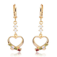 Vintage Womens Yellow gold plated Crystal Small Heart Hoop earrings jewelry