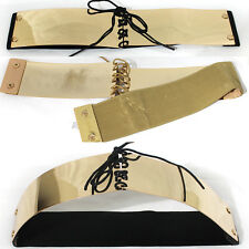 Western Fashion Mirror Metal Gold Plate Wide Belt Waist Band Elastic Obi Bow Tie